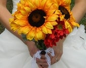Sunflower Bouquet, SALE, yellow, red, autumn fall wedding summer, vintage, lace, bridal bouquet,  brides bouquet, wedding flowers,