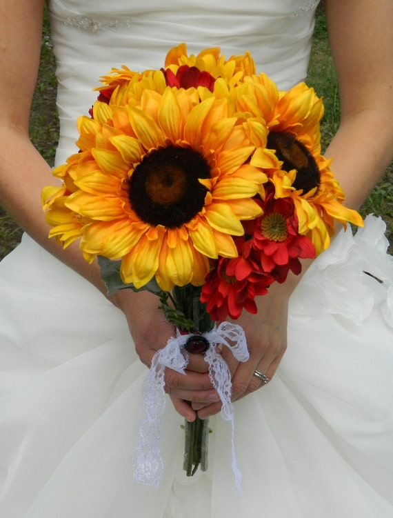 sunflower bouquet sale yellow red autumn fall wedding