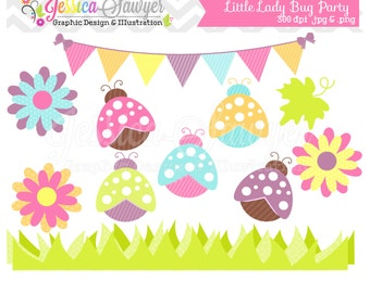 INSTANT DOWNLOAD,  lady bug clip art - spring clip art  - summer clipart - commercial use - card making - invitation clipart