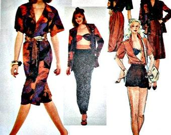 Misses Jacket, Blouse, Pants or Shorts, Bandeau Bra Top and Skirt Vintage Vogue 2440 American Designer Anne Klein Size 12