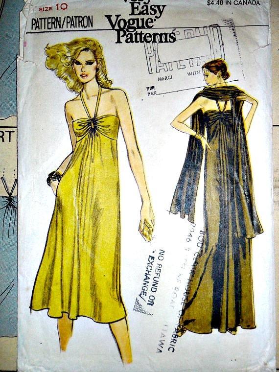 Misses Halter Strap or Strapless Maxi Dress or Dress and Stole Vintage Vogue 7006 Size 10