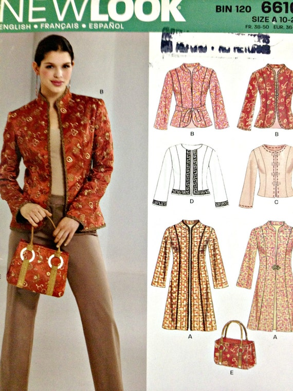 Misses Mandarin Collar Jacket Or Coat And Bag Sewing Pattern