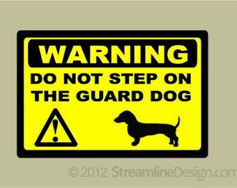 Dachshund Guard Dog Warning Sticker Free Shipping, front door guard dog warning doxie doxy weiner dog guard dog sticker warning guard dog