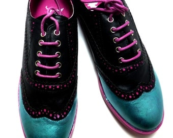 Custom painted black, pink and turquoise womens shoes size 7 and a half ON SALE