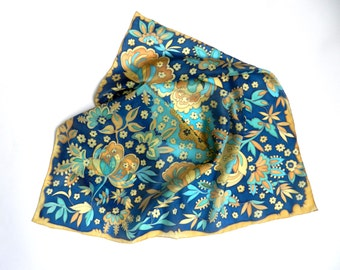 Deep blue hand painted silk scarf. Floral silk scarf.  Made to order.