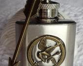 Mockingjay flask, mini key chain flask with mockingjay and bronze arrow on key chain