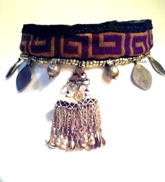 Greek key cloth choker with coins, Orissa beads, and silver double tassel pendant. Tribal fusion belly dance necklace. Ethnic jewelry.
