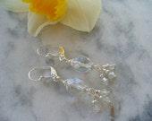 Clear Crystal Earrings, Sterling Silver Earrings, Long Dangle Earring, Womens Jewelry, Bridesmaid Earrings, Wedding Earring, Swarovski