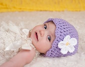 Newborn Baby Girl Hat Newborn Hat Girl Lavender Baby Hat Light Purple Newborn Girl Hat Crochet Flower Hat Flapper Baby Girl Clothes Spring
