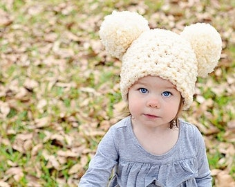 Toddler Animal Hat 1T to 2T Toddler Girl Hat Toddler Boy Hat Toddler Hat Chunky Crochet Pom Pom Hat Mouse Ear Hat 11 Colors Fun Hat Kids Hat
