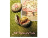 Tiny Victorian Easter Spring Mechanical Toy - antique style Painted Rose Egg, opens to Baby Chick  - Dollhouse Miniature