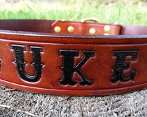 Personalized Leather Dog Collar, Engraved Dog Collar, Name Dog Collar, Leather Dog Collar, Large Dog Collar