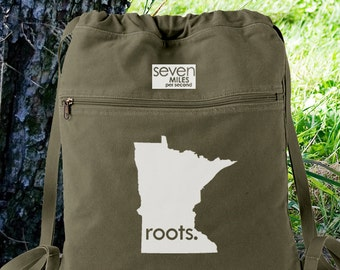 Minnesota MN Roots Canvas Backpack Cinch Sack