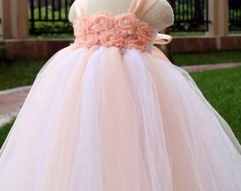 Flower Girl Dress Blush peach tutu dress baby dress toddler birthday dress wedding dress 2T 3T 4T 5T 6T 7T 8T 9T