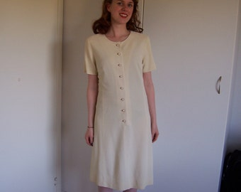 1960s Pale Yellow Mod Dress Size S/M