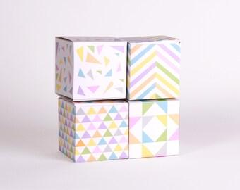 Geometric Favor Box Pastel Printable  Party Favors, Chevron, Small Gift Box, Jewelry Gift Box, Pastel Wedding Favors, Wedding Decor