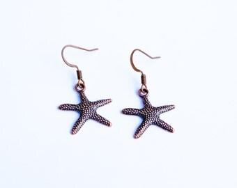 Starfish Earrings, Nautical Earrings, Copper Starfish Earrings, Little Starfish Earrings, Red Copper Starfish Earrings, Nautical Jewelry
