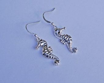 Seahorse Earrings, Little Silver Seahorse Earrings, Nautical Earrings, Little Seahorse Earrings