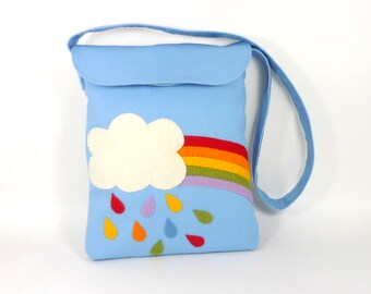 Organic Kids Messenger Bag -- Perfect for Holding Small Toys & Crayons -- Blue Kids Messenger Bag with Rainbow Rain Applique