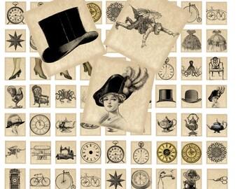 Victorian Antique Images Scrabble Tiles Instant Download Digital Collage 0.75 x 0.83 / 005