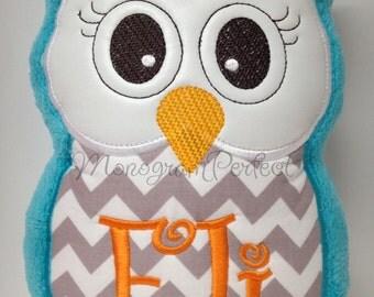 Personalized Blue Plush & Gray Chevron Stuffed Owl Reading Buddy Pillow, Soft Toy