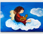 Hand painted card with angel and cat in the sky. Original painting for nursery decor / gift for children / gift for him / lovely card