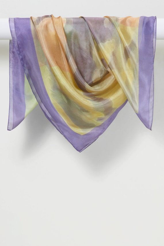 Handmade Silk Habotai Scarf in Three-Panel Watercolor (Greens/Peaches/Lavender Border) by LOUIS JANE