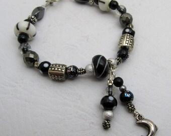 Black & White Beaded Dangle Charm Bracelet Dolphin, Lampwork Glass Bracelet Heart Toggle Clasp