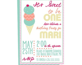Icecream invitation Etsy