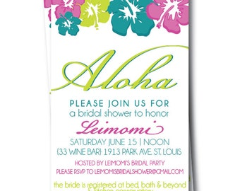 Hawaiian Bridal Shower Invitation, Hibiscus Wedding Invites, Printable Hawaiian Invitations