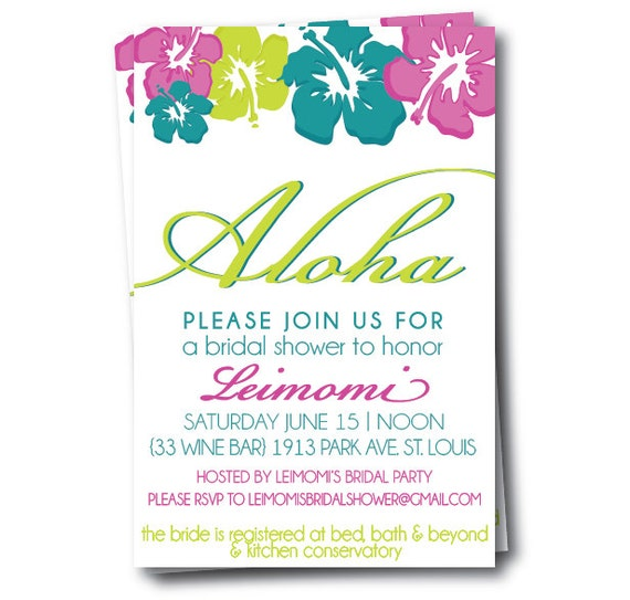 Hawaiian Bridal Shower Invitation, Hibiscus Wedding Invites, Printable ...