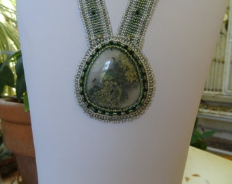 Moss Agate, Beaded Embroidery Necklace with Square Stitch Ribbons