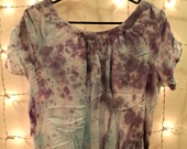Artsy summer blouse in purple and teal / SHOP FOR A CAUSE