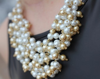 "Stella and Dot inspired ""Sofia""  pearl statement necklaces, Bib Necklace, Pearl Statement Necklace"