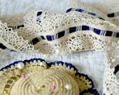 Beautiful Vintage Decorative Wide Lace Trim with Navy Blue Satin Ribbon inset