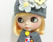 Gray and Yellow Hat for Blythe With Flowers Neo Blythe Pullip Doll Beanie