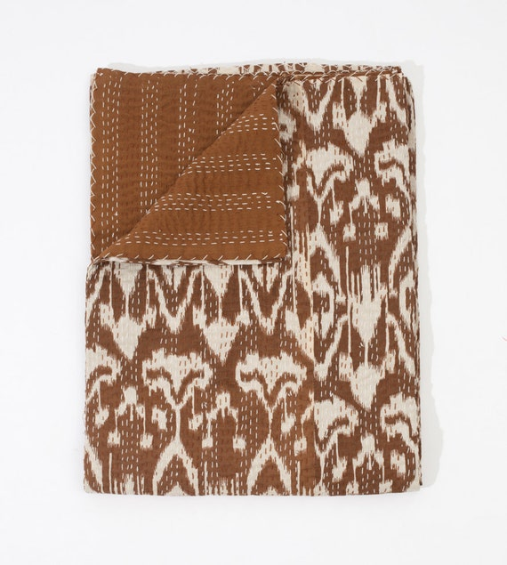Ikat Bed Cover in Brown Queen Size