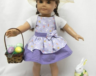 Easter Bunny Purple And White Dress With Shrug, And  Bonnet.  for 18 inch doll like the American Girl.