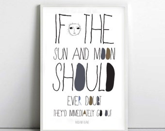 Sun print of William Blake quote-sun poster- art print by nicemiceforyou