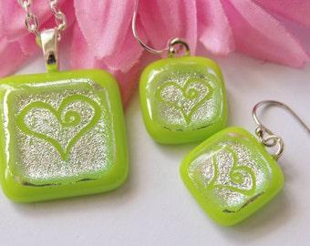 Handmade Dichroic Glass Pendant and Earring Set - Silver Heart - Summer Lime