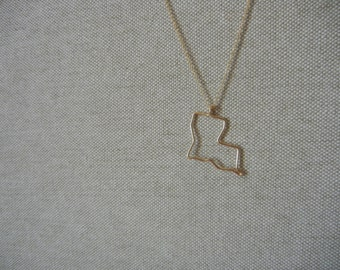 Gold Louisiana State Necklace