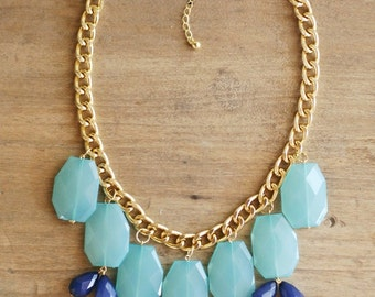 Turquoise and Navy Statement Necklace on Chunky Gold Chain, Aqua Statement Necklace