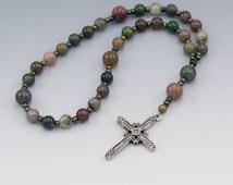 Methodist Prayer Beads - Contemporary Christian Rosary - Earthy Color Jasper Gemstones - Religious Gifts - Item # 727