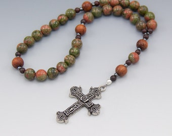 Anglican Rosary - Large Bead - Masculine Rosary - Unakite Gemstone - Christian Prayer Beads - Item # 726