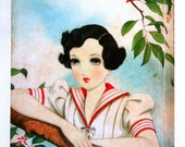 1930s JUNICHI NAKAHARA Big Eyed Girl in a SAILORSUIT Print Perfect for Framing