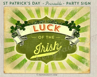 Vintage ST PATRICKS Day Wall Print Instant download