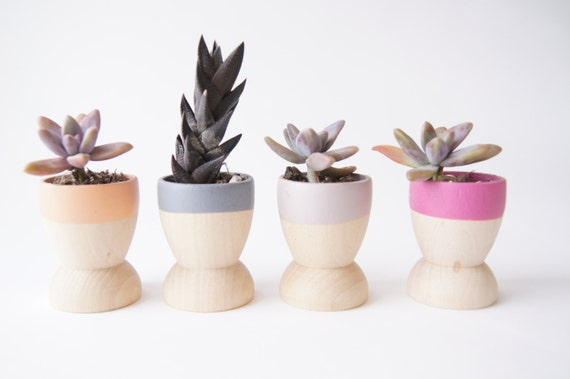 Mini Planters set of 4, Peach, Grey, Purple and Taupe, Natural Wedding, Spring Decor