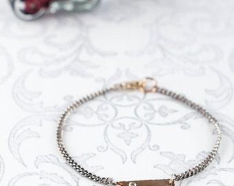 Diamond Bar Bracelet 14K Yellow Gold/ Oxidized Silver