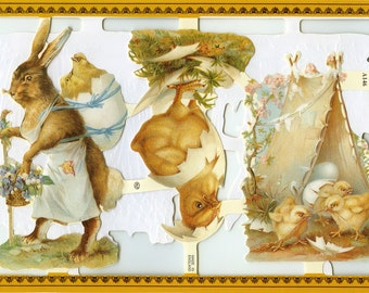 Easter SCRAP RELIEFS, Rabbit Scrap Reliefs - Victorian Easter Scrap Reliefs - Rabbit Die Cuts - Easter Die Cuts