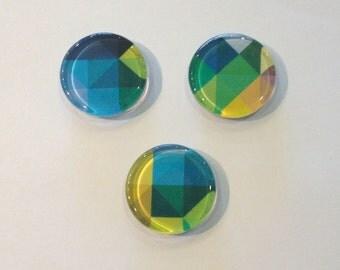 Colorful geometric round glass fridge magnets - set of 3 - blue, green, yellow